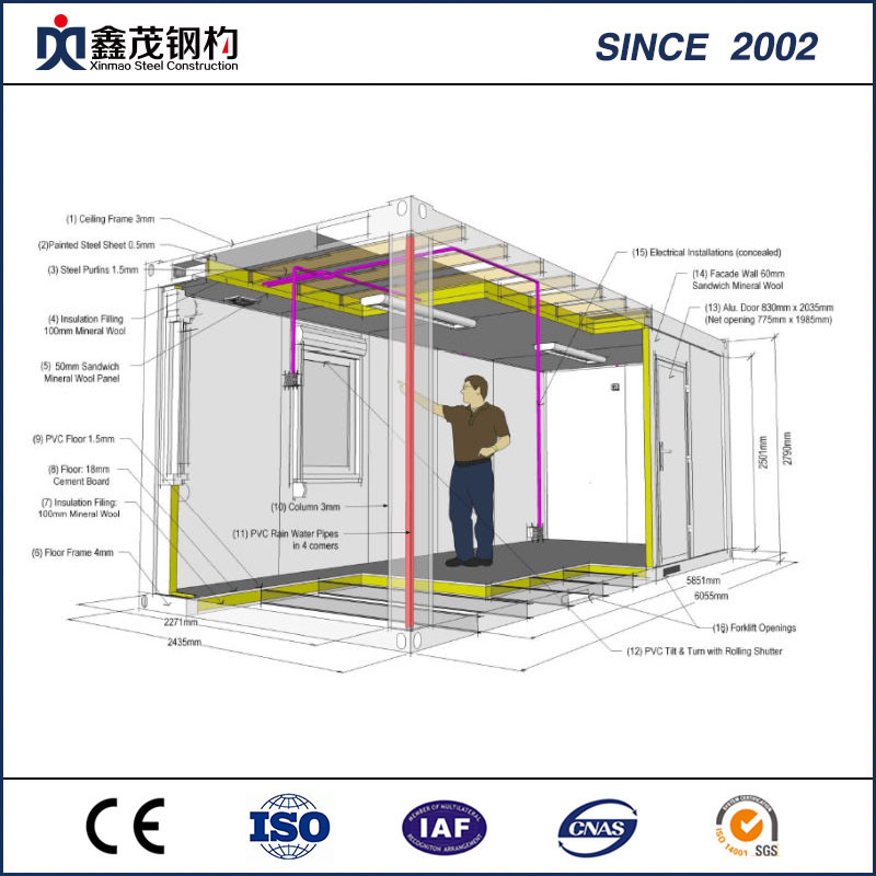 Frame Structure Flat Pack Container House for Labor Camp Architecture