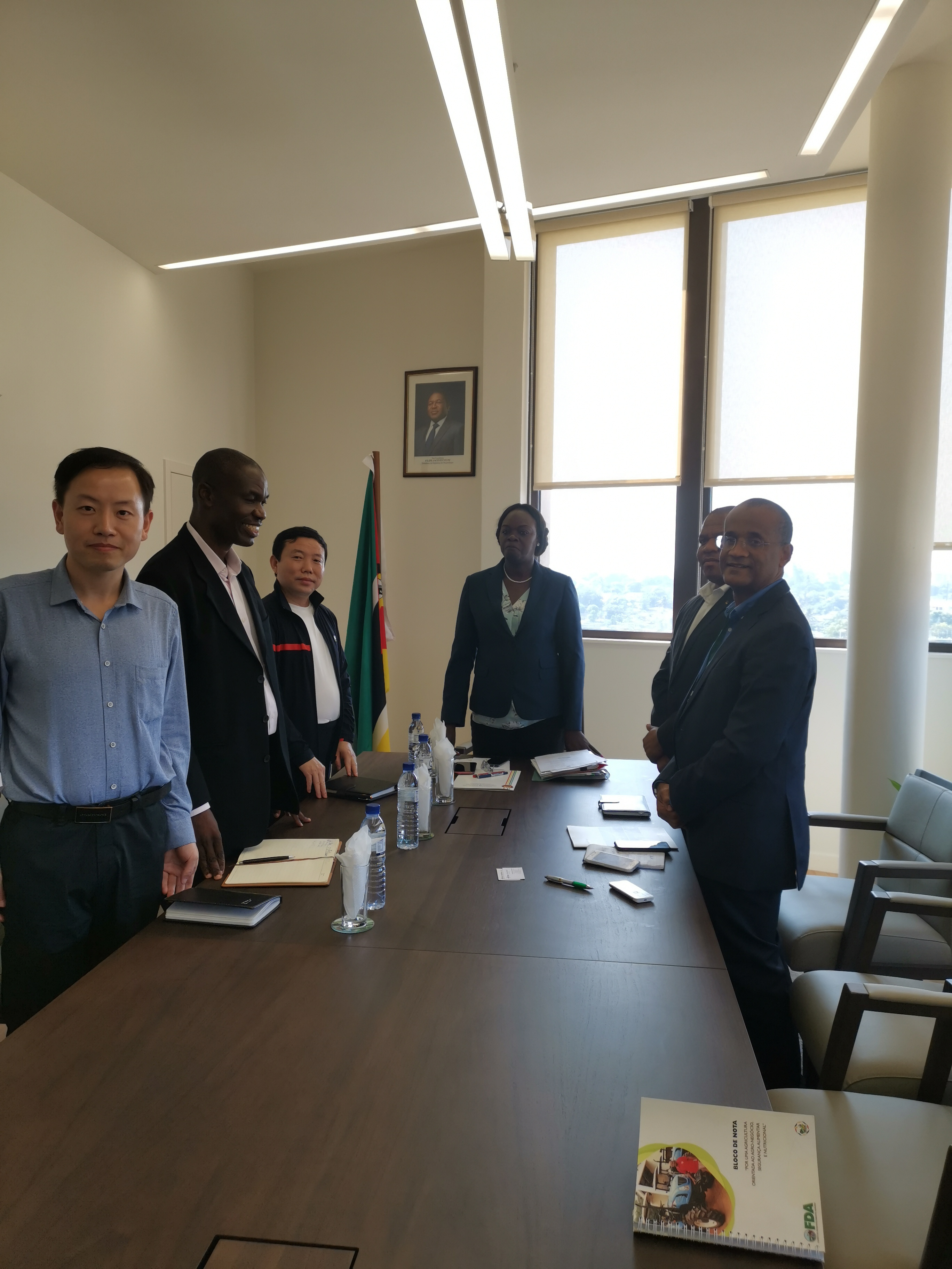 Our CEO meeting Mozambique with minister of agriculture and minister of education .